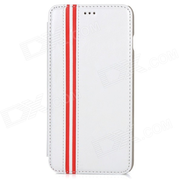 Protective Flip-Open PU + PC Case w/ Stand / Card Slot for IPHONE 6 PLUS 5.5 - White protective flip open pu case cover w card slot stand strap for iphone 6 plus white black