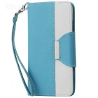 Buy Cross Patterned Protective Flip-Open PU Case Stand / Card Slot IPHONE 6 4.7 inch - Blue + White