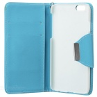 "Cross Patterned Protective Flip-Open PU Case w/ Stand / Card Slot for IPHONE 6 4.7"" - Blue + White"