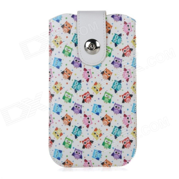 "Owls Pattern Protective PU Pouch Case w/ Pull Strap + Magnetic Button for IPHONE 6 PLUS 5.5"" - White"