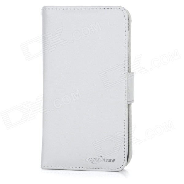 "Protective Flip-Open PU + ABS Case Cover w/ Stand + Card / Money Slots for IPHONE 6 4.7"" - White"