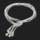 Women's Fashionable Artificial Pearl Sweater Decoration Necklace - White