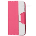 Buy Cross Patterned Flip-Open PU Case Stand / Card Slot IPHONE 6 4.7 inch - Deep Pink + White