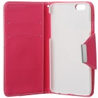 "Cross Patterned Flip-Open PU Case w/ Stand / Card Slot for IPHONE 6 4.7"" - Deep Pink + White"
