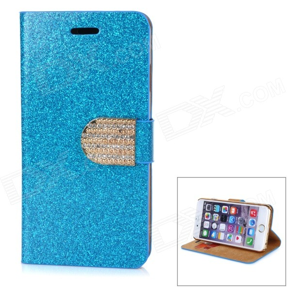 Rhinestone Studded Glittering Protective Flip-Open PU Case w/ Stand / Card Slot for IPHONE 6 - Blue protective flip open pu case w card slot stand for ipad air 2 sky blue