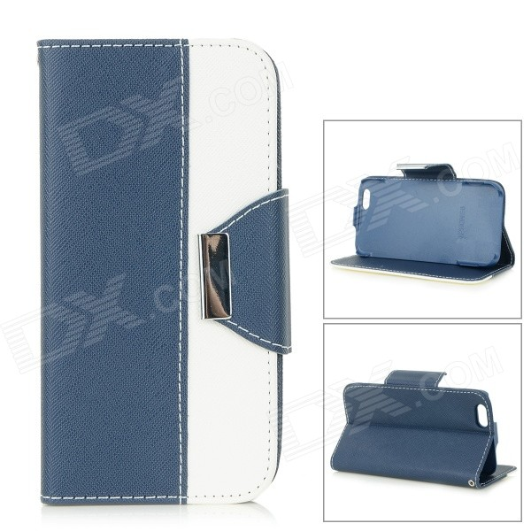 Cross Patterned Flip-Open PU Case w/ Stand / Card Slot for IPHONE 6 4.7 - Dark Blue + White wallet style magnet buckle pu leather flip open case w stand card slot strap for iphone 6 4 7