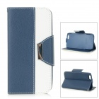 "Cross Patterned Flip-Open PU Case w/ Stand / Card Slot for IPHONE 6 4.7"" - Dark Blue + White"