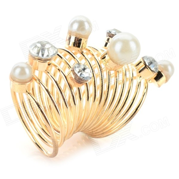 Women's Fashion Zinc Alloy Joint Pearl Ornament Ringent Ring - Golden