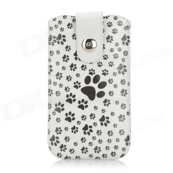 Cute Footprints Pattern Protective PU Leather Pouch for IPHONE 6 PLUS - White + Black