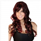 Big-Wave Long Curly Hair Wig - Wine Red