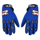 Motorcycle Adjustable Full-Finger Cloth Gloves - Blue (L / Pair)