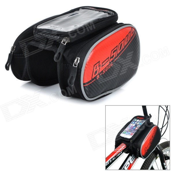 B-soul YA162 Bike Bicycle Top Tube Double Bag w/ Touch Screen Phone Pouch Case - Black + Red