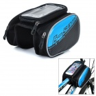 B-soul YA162 Bike Bicycle Top Tube Double Bag w/ Touch Screen Phone Pouch Case - Black + Blue