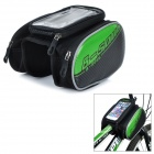 B-soul YA162 Bike Bicycle Top Tube Double Bag w/ Touch Screen Phone Pouch Case - Black + Green