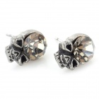 Skull Style Zinc Alloy Ear Studs - Antique Silver (Pair)