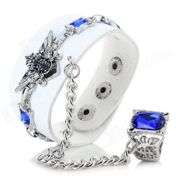 Cool Punk Style PU + Zinc Alloy Bracelet w/ Ring - White punk style unique flower pattern zinc alloy plating ring silver