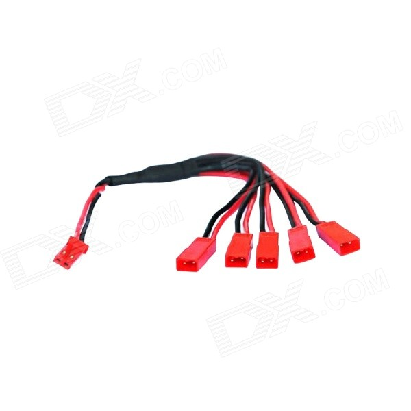 Connector Size-51 JST Male to 5 x Female Plug Cable - Black + Red universal 38 t plug female to t plug male parallel connector red black brass