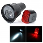 LED Headlight + Safety Warning Tail Light Lamp Set for Bike / Electrombile - Black + Red (3 x AAA)