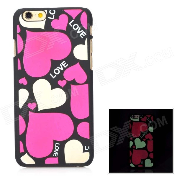Glow-in-the-Dark Heart Pattern Protective Back Case for IPHONE 6 4.7 - Deep Pink + Black girl pattern glow in the dark protective tpu back case for iphone 4 4s white light pink