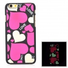 "Glow-in-the-Dark Heart Pattern Protective Back Case for IPHONE 6 4.7"" - Deep Pink + Black"