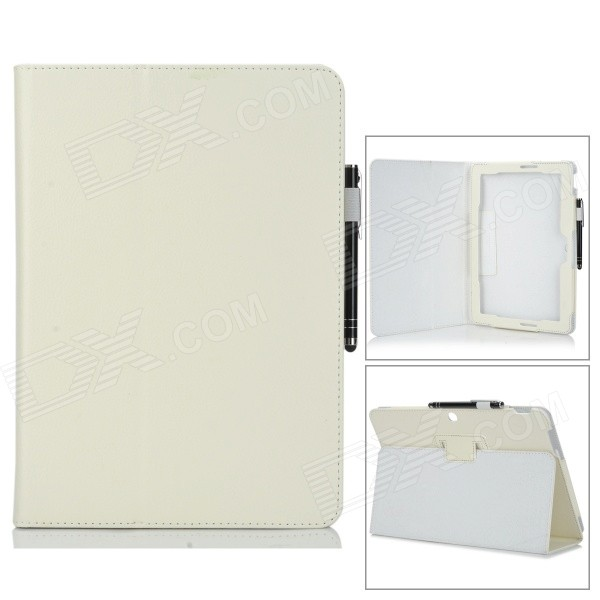 Protective PU Flip Open Case w/ Stand + Stylus Pen for Asus Transformer Pad TF303CL - White asus transformer pad infinity tf700t в харькове