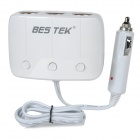 BESTEK BTSA11 1-to-3 Car Cigarette Lighter Socket Adapter w/ 2 USB Ports / Fuse - White