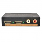 1-IN 2-OUT Port HDMI Audio Video 1.3 Splitter - Black + Golden (US Plugs / 100~240V)