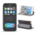 "Angibabe Double View Window Protective PU Leather Case Cover w/ Stand for 4.7"" IPHONE 6 - Black"