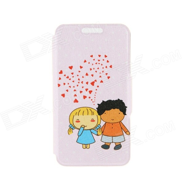 Kinston Cartoon Couples Pattern PU Leather Flip Open Case w/ Card Slot for IPHONE 6 PLUS kinston music girl pattern pu plastic flip open case w stand card slot for iphone 6 plus