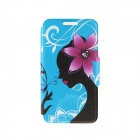 Kinston Paper-cut Lady Pattern PU Leather Flip Open Case w/ Stand / Card Slot for IPHONE 6 PLUS