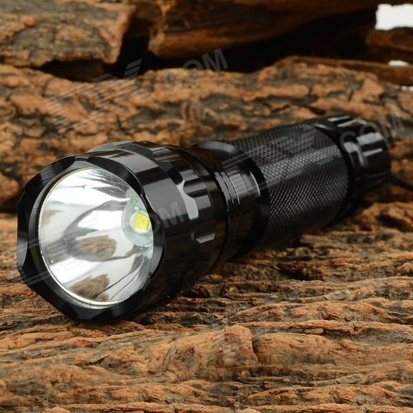 Ultrafire 501B-LZZ 900lm 1-Mode Cool White Light LED Flashlight w/ Strap - Black (1 x 18650) ultrafire 8xt6 8 led 5000lm 5 mode white light flashlight w strap black 4 x 18650