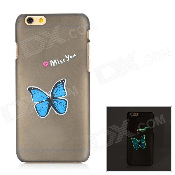 Glow-in-the-Dark Butterfly Pattern Protective Plastic Back Case for IPHONE 6 - Blue + Black butterfly bling diamond case