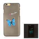 Glow-in-the-Dark Butterfly Pattern Protective Plastic Back Case for IPHONE 6 - Blue + Black
