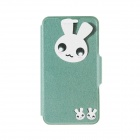Kinston Cute Rabbit Pattern PU + Plastic Flip Open Case w/ Stand / Card Slot for IPHONE 6 PLUS