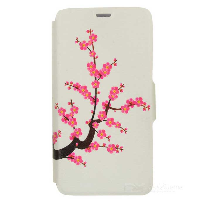 Kinston Plum Blossom Pattern Protective PU Leather Case Cover Stand for IPHONE 6 Plus - Pink + White kinston kst91820 petunia pattern pu leather plastic cover for iphone 6 4 7 pink multicolored