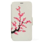 Kinston Plum Blossom Pattern Protective PU Leather Case Cover Stand for IPHONE 6 Plus - Pink + White
