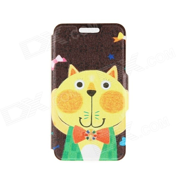 Kinston Cat with Bow Pattern PU Leather Case Cover Stand for IPHONE 6 Plus - Black + Yellow embossed leather cover with multiple card slots for iphone 6s plus 6 plus beige leopard pattern