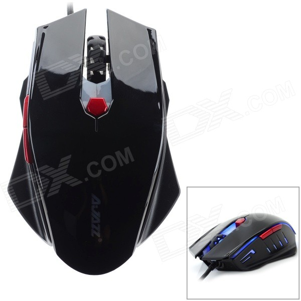 DULISIMAI AJ10 Wired 1600DPI LED Gaming Mouse - Black + Red (170cm) fc 143 usb 2 0 wired 1600dpi led gaming mouse black cable 120cm