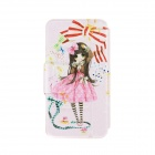 Kinston Girls Bow Pattern PU Leather Full Body Case Cover Stand for IPHONE 6 Plus - Pink + White
