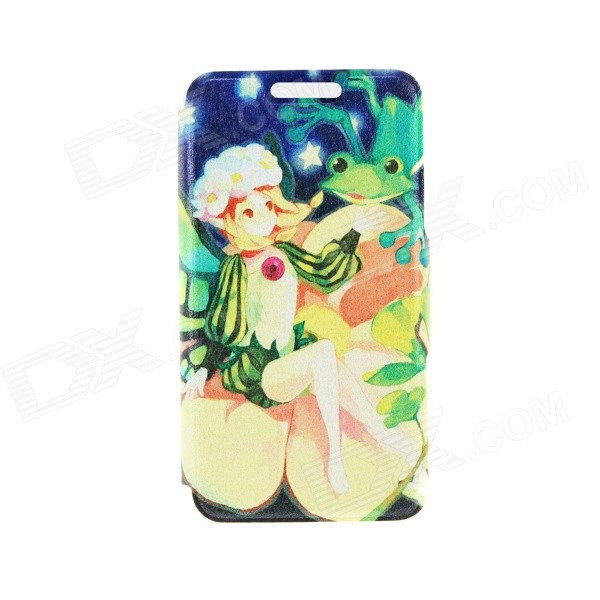 Kinston the Fairy and the Frog Pattern PU Leather Case Cover Stand for IPHONE 6 Plus - Multicolored goop cr2450 3v lithium cell button batteries 5 x 10pcs