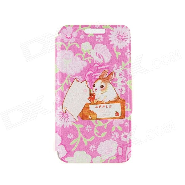 Kinston Rabbit and Pig Pattern PU Leather Flip Open Case w/ Stand / Card Slot for IPHONE 6 PLUS kinston kst91872 ladybug petunia w rhinestones pattern pu case w stand for iphone 6 multicolored