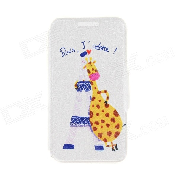 Kinston Tower Giraffe Pattern PU Leather Full Body Case Cover Stand for IPHONE 6 Plus - White kinston a fat cat pattern pu leather full body case cover stand for iphone 6 plus white grey
