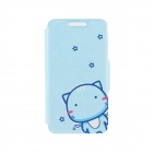 Kinston the Cat in the Sky Pattern PU Leather Full Body Case Cover Stand for IPHONE 6 Plus - White