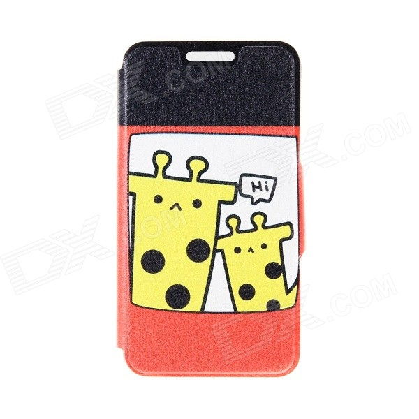 Kinston Two Giraffes Pattern PU Leather Flip Open Case w/ Stand / Card Slot for IPHONE 6 PLUS kinston stylish flip open pu plastic case w stand card slot for nokia lumia 520 4 3 black