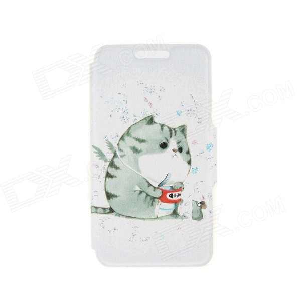 Kinston A Fat Cat Pattern PU Leather Full Body Case Cover Stand for IPHONE 6 Plus - White + Grey kinston a fat cat pattern pu leather full body case cover stand for iphone 6 plus white grey