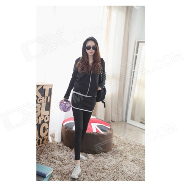 DG-87 Fashion Sports Knitted Cotton Hoodie + Pants Suit - Black (S)