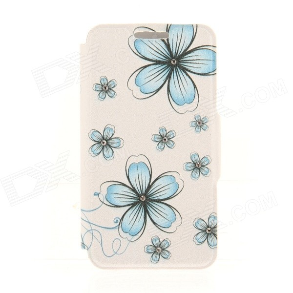 Kinston KST92475 Flowers Pattern PU + Plastic Case w/ Stand for IPHONE 6 PLUS - Blue + White kinston kst91872 ladybug petunia w rhinestones pattern pu case w stand for iphone 6 multicolored