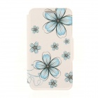 Kinston KST92475 Flowers Pattern PU + Plastic Case w/ Stand for IPHONE 6 PLUS - Blue + White