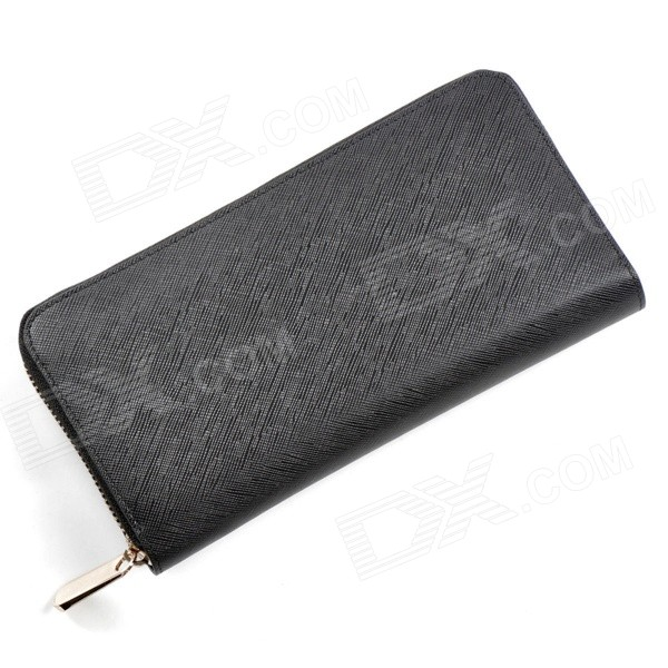PL-60017-1 Women 's Fashion PU Long Zipper Wallet / Handbag - Black