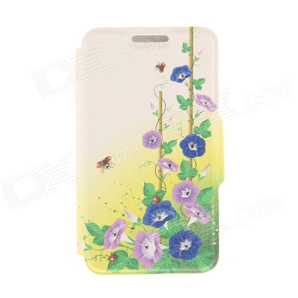 Kinston Ladybug + Petunia Pattern PU + Plastic Case w/ Stand for IPHONE 6 PLUS - Multicolored kinston kst92535 silk pattern pu plastic case w stand for iphone 6 plus white